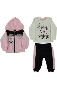 Детский спортивный костюм 3 ед., для девочки, розовый/черный/кремовый, хлопок, р. 68 Concept Турция