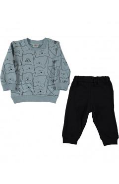 """Комплект одежды для мальчика """"Мишки"""", хлопок, серый/черный р. 74,80,86,92 Lamonde Турция"""