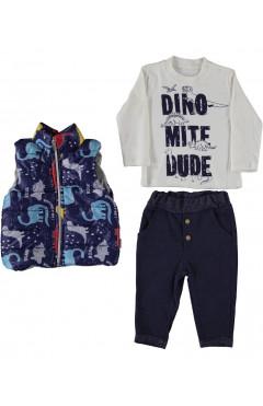 """Комплект одежды для мальчика """"Динозавры"""" 3 ед., хлопок, белый / черный / синий р. 74,80,86 Bimbalo Baby Турция"""
