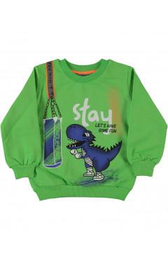 """Свитшот детский """"Динозаврик"""", для мальчика, зеленый, хлопок, р. 74,80,86,92 Mago boys Турция"""