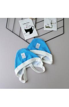 Чепчик с начесом, с завязками, для мальчика, голубой, синий, р. 36 Baby City Украина