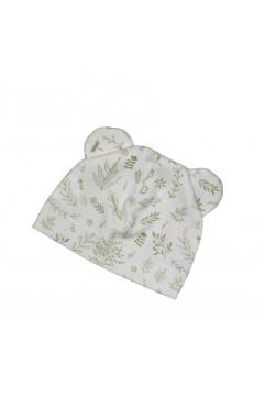 Шапочка для новорожденного, с ушками, белый с принтом, хлопок, р 38, Little angel Украина