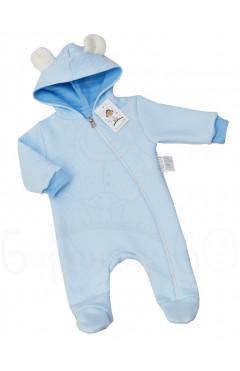 Человечек для новорожденного, для мальчика, утепленный, синий, хлопок, р. 62,68,74 ТМ Баранчик БО Украина