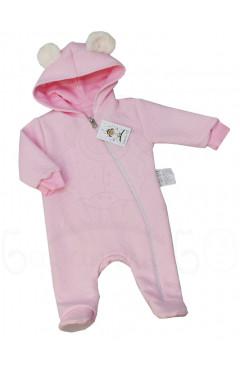 Человечек для новорожденного, для девочки, утепленный, розовый, хлопок, р. 68,74 ТМ Баранчик БО Украина