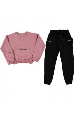 Детские спортивный костюм, для девочки, пудровый, черный, хлопок, р.146,152,164 Do-minik Турция