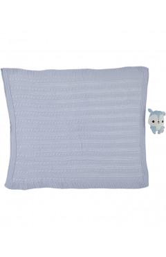 Плед для новорожденного, для мальчика, голубой, акрил, р.85х95, Caramini Турция