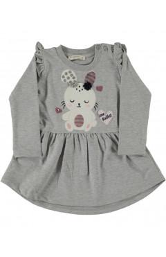 """Платье для девочки """"Зайка"""", серый, аппликация, хлопок, р. 92,98,104,116 Pop fashion girl Турция"""