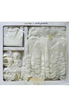 Крестильный набор для девочки, 4 ед.,молочный, кружево, хлопок, р.56, Pon Pon Турция