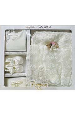 Крестильный набор для девочки, 4 ед., белый, хлопок, р.56, Pon Pon Турция