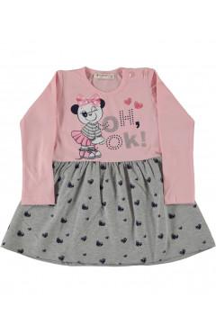 Платье для девочки, розовый/серый, хлопок, р.92,98,114,116 Pop fashion girl Турция