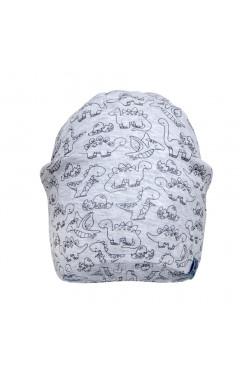 """Демисезонная шапка для мальчика """"Динозавры"""", без завязок, серый, хлопок, р.42,44,46 Davids Star Украина"""