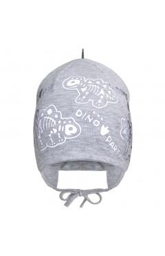 """Демисезонная шапка для мальчика """"Динозавры"""", серый, хлопок, р.42,44,46 Davids Star Украина"""