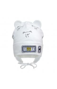 """Демисезонная шапка для мальчика """"Мишка"""", молочный, хлопок, р.40,42,44 Davids Star Украина"""