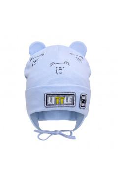 """Демисезонная шапка для мальчика """"Мишка"""", голубой, хлопок, р.40,42,44, Davids Star Украина"""