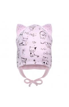 """Демисезонная шапка для девочки """"Котик"""", розовый, хлопок, р.42,44,46 Davids Star Украина"""