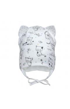 """Демисезонная шапка для девочки """"Котики"""", молочный, хлопок, р.42,44,46 Davids Star Украина"""