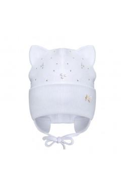 Демисезонная шапка для девочки, с ушками, со стразами, молочный, хлопок, р.40,42,44, Davids Star Украина
