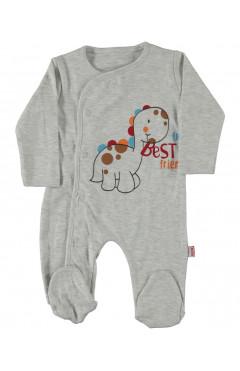 Человечек для новорожденного, для мальчика, серый, интерлок, р.56,62,68 Puan baby Турция