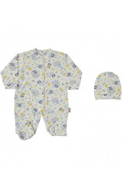 Человечек для новорожденного, с шапочкой, для мальчика, белый, хлопок, р.50,56,62 Esa Baby Турция