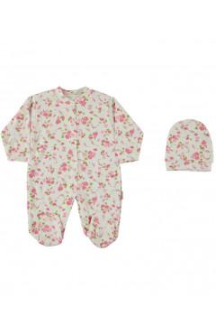 Человечек для новорожденного, с шапочкой, для девочки, белый с принтом, интерлок, р.50,56,62 Esa Baby Турция