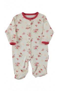 Человечек для новорожденного, девочки, молочный с принтом, интерлок, р.56,62,68 Midirik Турция