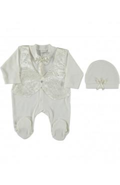 Человечек для новорожденного, с шапочкой, для мальчика, молочный, интерлок, р.56 Sonmez Bebe Турция