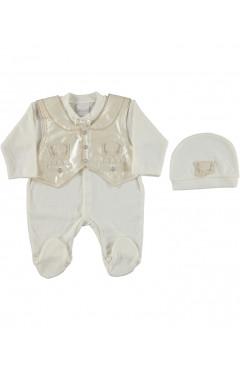 Человечек для новорожденного, для мальчика, кремовый, интерлок, р.56 Sonmez Bebe Турция