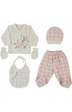 Комплект для новорожденного, 5 ед., для девочки, розовый, р. 56 Leylek Турция