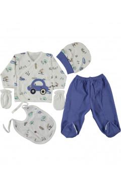 Комплект для новорожденного, 5 ед., для мальчика, синий, р. 56 Leylek Турция
