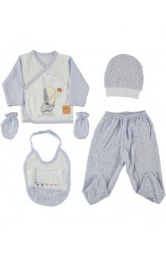 Комплект для новорожденного, 5 ед., для мальчика, голубой, р. 56 Leylek Турция
