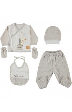 Комплект для новорожденного, 5 ед., для мальчика, молочный, р. 56 Leylek Турция