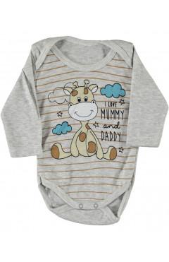 Боди для новорожденных, с длинным рукавом, серый, интерлок, р.62,74,80,86 Findik Турция