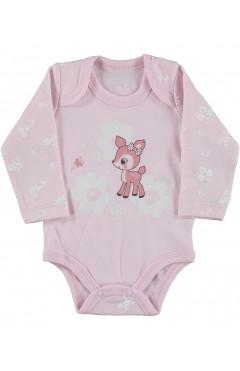 Боди для девочки, с длинным рукавом, розовый, интерлок, р.56,62,68,74,80, Veo baby Турция