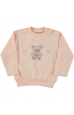 Свитшот детский, для девочки, персиковый, хлопок, р.56,62,68,74,80 Puan baby Турция