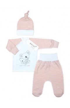 Комплект для новорожденного, 3 ед., белый/розовый, хлопок, р.56 Merry Bee Украина