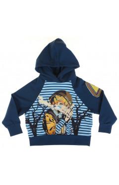 Кофта для мальчика, с капюшоном, синий, хлопок, р.104,116,122,140,152, Cloise Турция