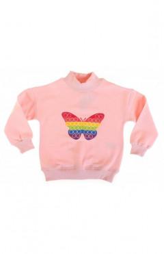 Свитшот детский, для девочки, розовый хлопок, р.104,110,116, Toontoy Турция