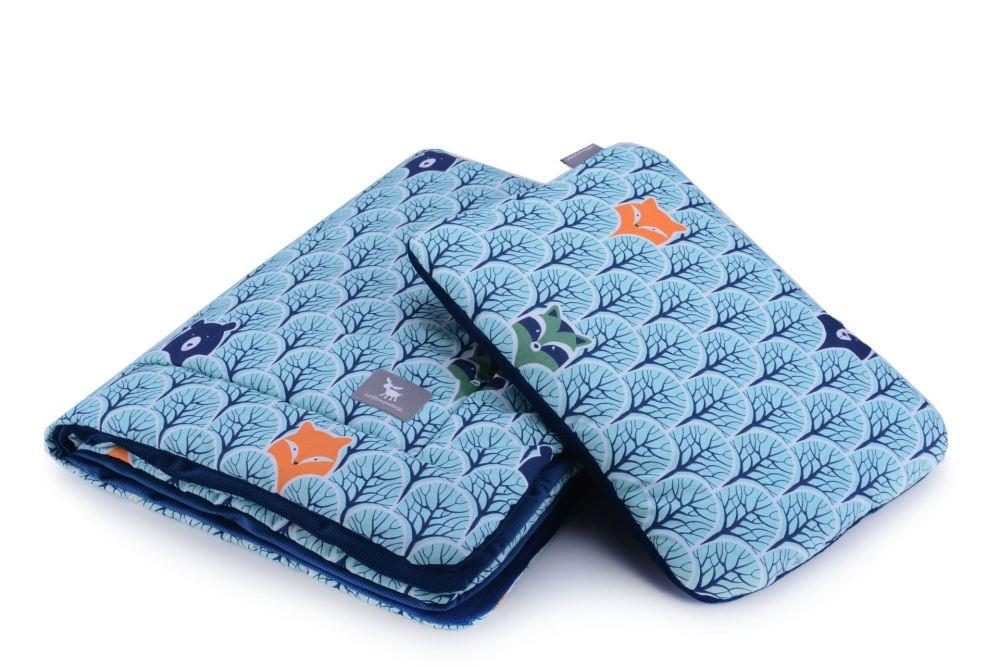 Плед с подушкой Cottonmoose Cotton Velvet 408/86/145 cotton velvet dark navy (голубой (лесные животные) с темно-синим (бархат))