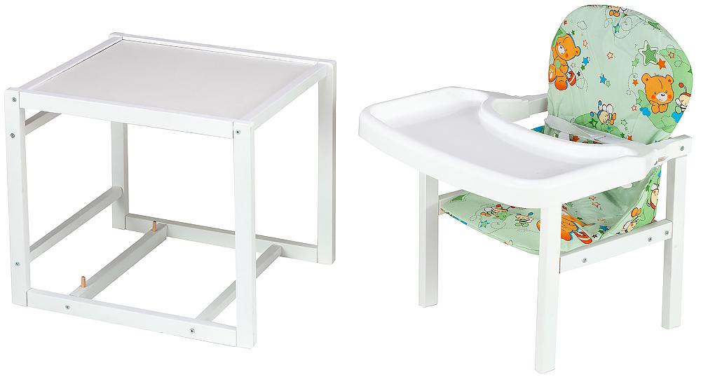 Стульчик- трансформер Babyroom Пони-240 белый пластиковая столешница  зеленый (мишки и пчелки)