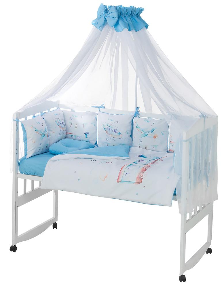 Детская постель Babyroom Bortiki Print-08  blue train