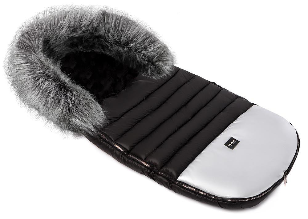Зимний конверт Bair Polar premium  черный - серебро кожа