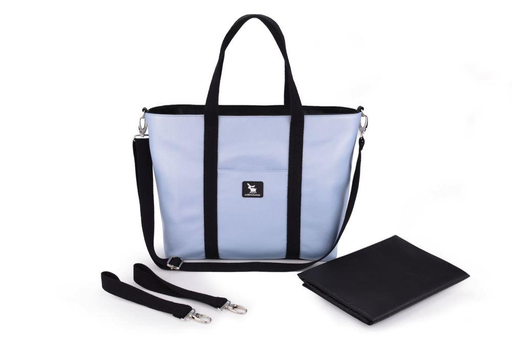 Сумка для коляски Cottonmoose Shopper 750/151 pearl blue leather (голубой эко-кожа)