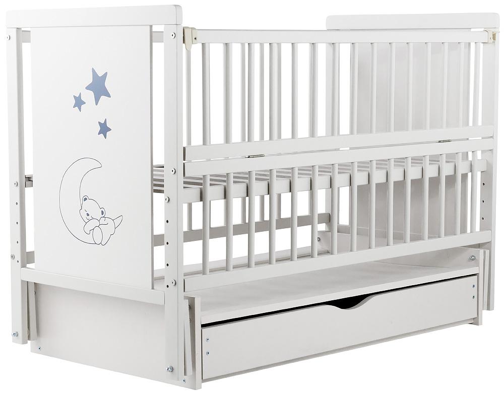 Кровать Babyroom Медвежонок M-03 маятник, ящик, откидной бок  бук белый