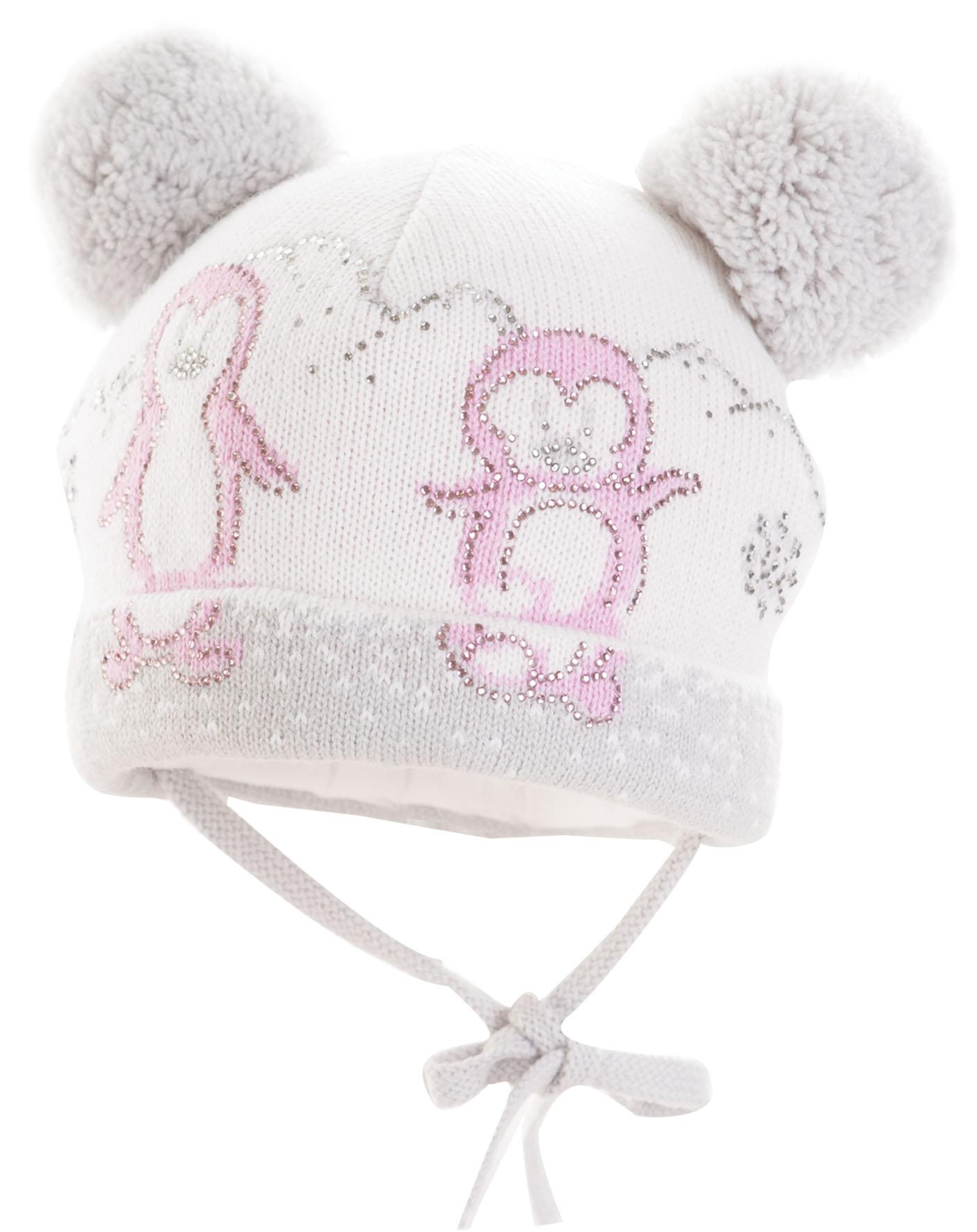 Зимняя шапка для девочки с искусственным помпоном