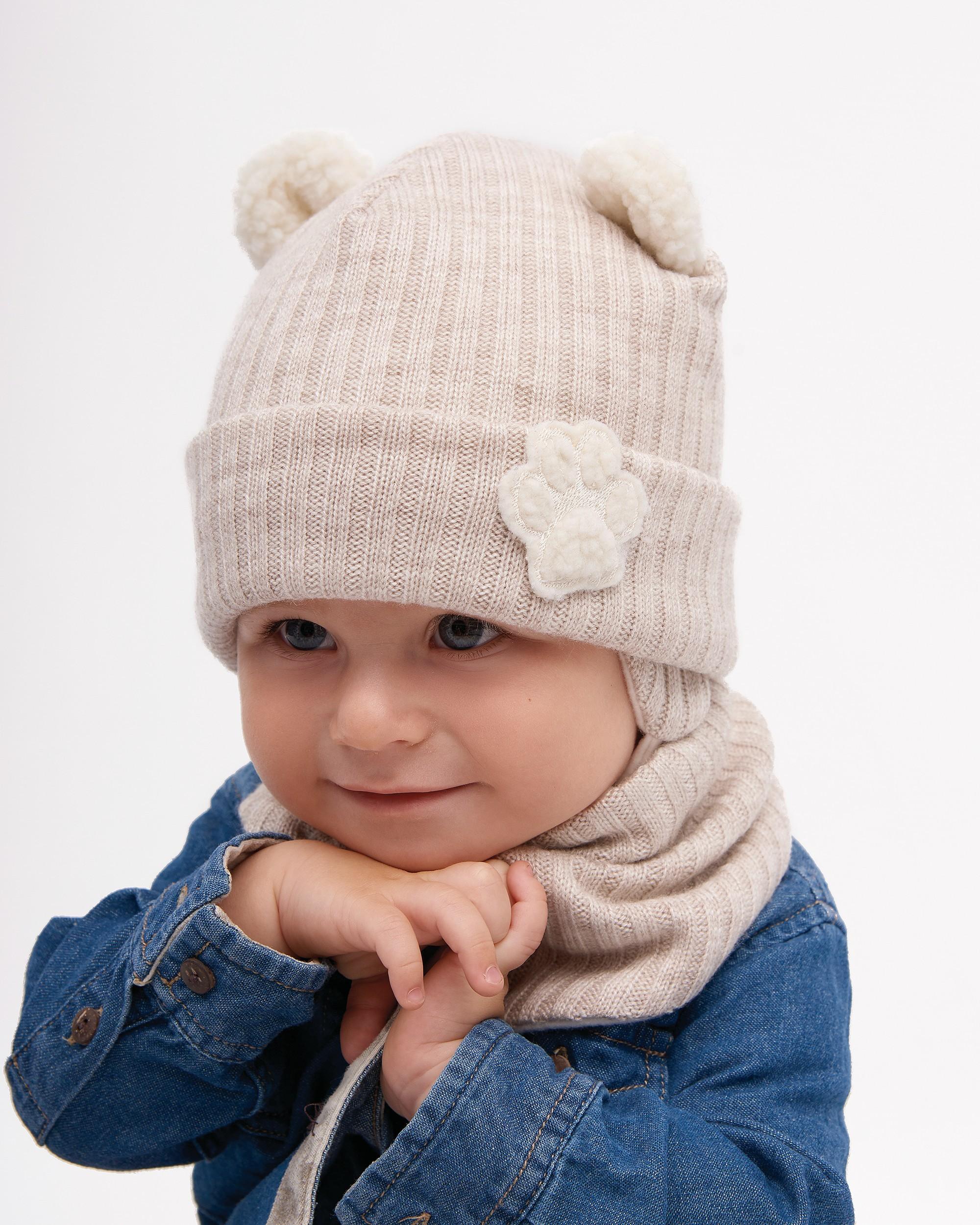 Зимняя шапка и манишка для мальчика